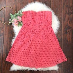NEW Yoana Baraschi Coral Eyelet Strapless Dress